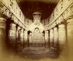 Interior of Buddhist chaitya hall, Cave XIX, Ajanta 10005495